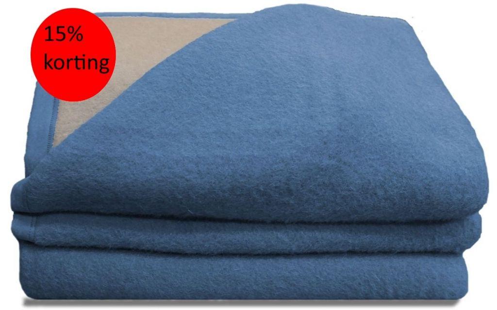 Luxery scheerwollen deken blauw 220x240 730 gram
