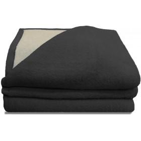 Luxery scheerwollen deken antraciet 600 gram