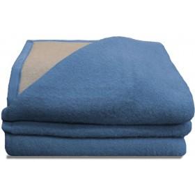 Luxery scheerwollen deken blauw 600  gram