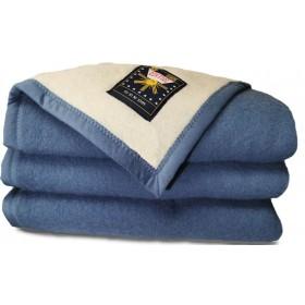 Sole Mio scheerwollen deken blauw-ecru 730 gr. VOORRADIG