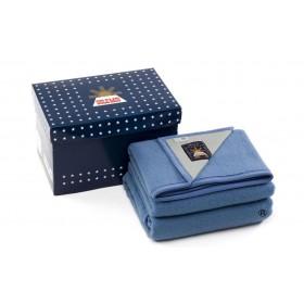 Sole Mio scheerwollen deken blauw-ecru 730 gr.